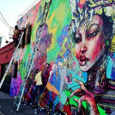 The collaboration gods have brought the supreme talents of David Choe and Aryz together for an epic mural in Los Angeles. The two each brought their own visual chaos to a wall in the downtown area on Matteo St. and finished in just two days.