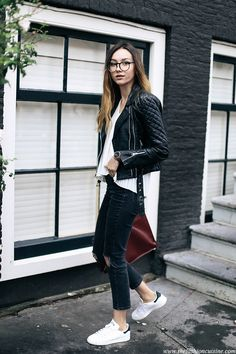 The easiest and most comfortable outfit featuring leather jacket and stan smith sneakers for summer