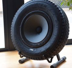 Tire Speaker cool idea, not sure about the sound quality but still cool. I wouldn't mind having one of these in my garage or gym.