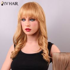 Ladylike Long Wavy Neat Bang Women's Siv Human Hair Wig #>=#>=#>=#>=#> Click on the pin to check out discount price, color, size, shipping, etc. Save and like it!