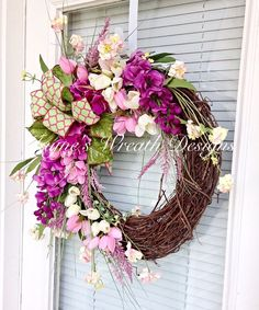 Floral Spring Wreath, Summer Wreath for Door, Front Door . Wreath Crafts, Diy Wreath, Grapevine Wreath, Wreath Ideas, Easter Wreaths, Holiday Wreaths, Summer Wreath, Spring Wreaths, Grape Vines