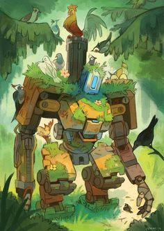 Overwatch Bastion and various birds fanart by JENIAK