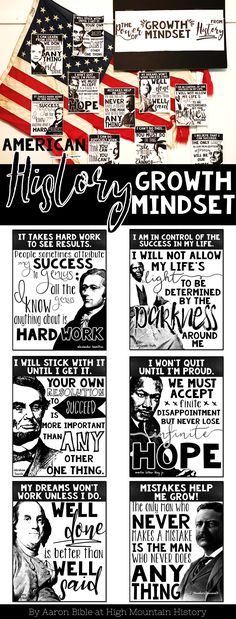 American History Growth Mindset Posters and Growth Mindset Activity to Use with ANY Historical Figure.
