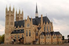 Church of Our Lady Immaculate in Guelph, Ontario, Canada. Beautiful stained glass windows, been there.seen this Gothic Revival Architecture, Irish Catholic, Church Of Our Lady, France Photography, O Canada, Cathedral Church, Place Of Worship, Interior Exterior, Ontario