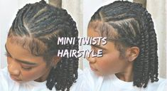 Mini Twists Protective Hairstyle for Natural Curly Hair Natural Braided Hairstyles, Protective Hairstyles For Natural Hair, Natural Hair Braids, Twist Braid Hairstyles, Braids For Black Hair, Easy Hairstyles, Afro Hair Twists, Medium Length Natural Hairstyles, Natural Protective Styles