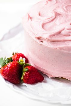 Homemade Yellow Cake with Strawberry Frosting ~ simple, homey, and fresh, this strawberry cake is the perfect finish for a spring meal or birthday dinner! birthday dinner Homemade Yellow Cake with Strawberry Frosting Strawberry Frosting Recipes, Homemade Strawberry Cake, Strawberry Cakes, Cake Recipes, Dessert Recipes, Desserts, Cake Recipe For Decorating, Dessert Drinks, Spring Recipes