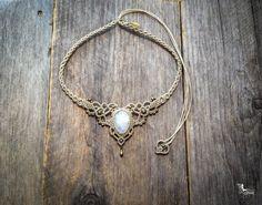 Macrame necklace bohemian wedding tiara by creationsmariposa