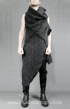 SIMONA TAGLIAFERRI WM4 Dark grey vest in wool and details in silicon 95% wool 5% lambskin