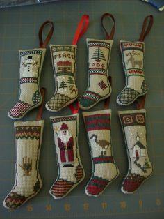Stockings Mini Christmas Stockings, Cross Stitch Embroidery, Holiday Decor, Molde