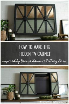 Our DIY hidden TV cabinet cost less than half of Pottery Barn! How to make a Hidden TV Cabinet with mirrors inspired by Joanna Gaines's on Fixer Upper and a Pottery Barn hack. When you hide the TV your room feels more thoughtful and sophisticated. Joanna Gaines, Armoires Murales Tv, Home Renovation, Fixer Upper, Hidden Tv Cabinet, Armoire Tv, Pottery Barn Hacks, Pottery Tools, Tv Wall Cabinets