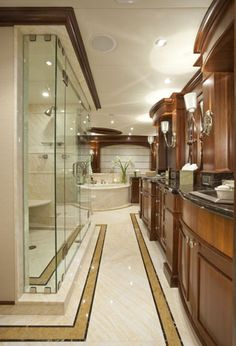 Fashion Designer, Style Expert, TV Host & Author, Stephany Greene uses this image for inspiration for yacht decor. Yacht Luxury, Luxury Yacht Interior, Luxury Homes, Luxury Decor, Yacht Design, Transitional Decor, Transitional Bathroom, Private Yacht, Luxury Houses