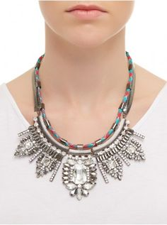 Statement Necklace with Rope Detail Multi-colour 445