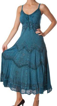 Amazon.com: Sakkas Stonewashed Rayon Embroidered Adjustable Spaghetti Straps Long Dress: Clothing