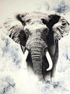 Wildlife Paintings, Wildlife Art, Animal Paintings, Art Paintings, Elephant Art, African Elephant, African Animals, Elephant Pictures, Elephants Photos