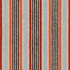 Alternative Flooring Margo Selby Stripe Frolic Pegwell Carpet.  100% wool fine quality yarn. Modern vibrant colours designed to lift a room or hall stairs and landing. 4 metres wide.  Wool is an excellent choice for rugs and carpets; sustainable, strong, hard-wearing, crush-resistant and abrasion-resistant. It is also naturally flame resistant – it smoulders and extinguishes itself instead of burning. Striped Carpets, Alternative Flooring, Vibrant Colors, Colours, Landing, Frames, Weaving, Stairs, Strong