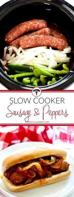 Sausage and Peppers is a classic Italian-American comfort food dish; Ive adde – … Advertisements Sausage and Peppers is a classic Italian-American comfort food dish; Ive adde – Slow Cooker – Ideas of Slow Cooker – Sausage and Peppers… Continue Reading → Crock Pot Food, Crockpot Dishes, Crock Pot Slow Cooker, Pressure Cooker Recipes, Dinner Crockpot, Slow Cooking, Cooking Recipes, Cooking Time, Freezer Cooking