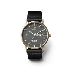 Classic, thin and elegant. Interpreted in brushed gold, dark gray and black Swedish organically tanned leather.
