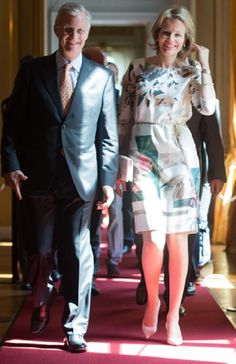 King Philippe of Belgium and Queen Mathilde of Belgium during the opening of the exhibition on science and culture at the Royal Palace in Brussels, 18 July 2014