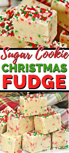 An easy sugar cookie Christmas fudge recipe great for Christmas par. - An easy sugar cookie Christmas fudge recipe great for Christmas parties or just for a - Christmas Fudge, Easy Christmas Treats, Christmas Party Food, Christmas Sweets, Christmas Cooking, Christmas Holiday, Holiday Foods, Holiday Treats, Family Christmas