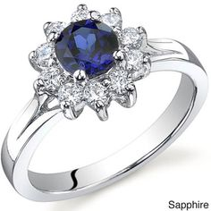 Oravo Sterling Silver Round Gemstone Cubic Zirconia Flower Ring - Overstock™ Shopping - Top Rated Oravo Gemstone Rings