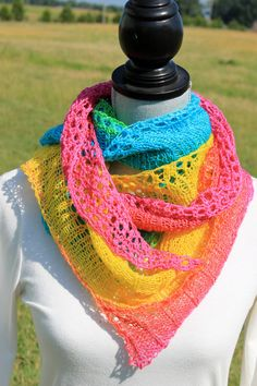 Hand knitted shawl shawlette scarf merino wool with by FARMSPUN