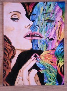 Lana Del Rey portrait, 28,5 cm x 38,5 cm, watercolor pencils, acrylic paint, fineliner