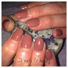 Mocha gel polish on natural nails