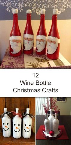 Some very creative Christmas decoration ideas using wine bottles!
