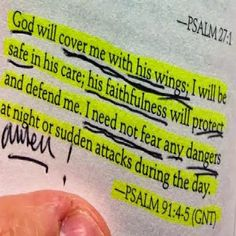 God will cover me with His wings; I will be safe in His care; His faithfulness will protect & defend me. I need not fear any dangers at night or sudden attacks during the day. Prayer Scriptures, Bible Prayers, Bible Verses Quotes, Faith Quotes, Wisdom Bible, Godly Quotes, Biblical Quotes, Qoutes, Peace Quotes