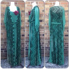 RARE 1920s Paris Couture Green Velvet Burnout Sheer Silk Belted Flapper Dress M #Ascoli
