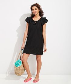 Shop Embroidered Palm Vineyard Tunic Dress at vineyard vines Double Ruffle, Vineyard Vines, Palm, Cover Up, Short Sleeve Dresses, Tunic, Shirt Dress, Shopping, Women