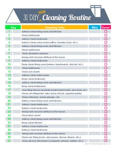 31-Day House Cleaning Printable