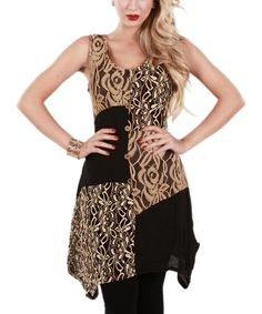 Another great find on #zulily! Lily Black & Beige Lace Patchwork Sleeveless Tunic by Lily #zulilyfinds