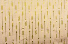 Peach and Metallic Gold Arrows Print Fabric by the by RetroModChic