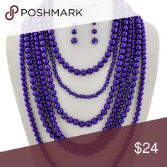 """Seven Lyaers Royal Blue Faux Pearl Chunky Necklace Silver Tone / Blue Synthetic Pearl / Lead&nickel Compliant / Fish Hook (earrings) / Multi Row / Necklace & Earring Set  •   LENGTH : 18 1/2"""" + EXT •   EARRING : 3"""" L •   DROP : 7"""" •   RHODIUM/BLUE wild flower Jewelry Necklaces"""