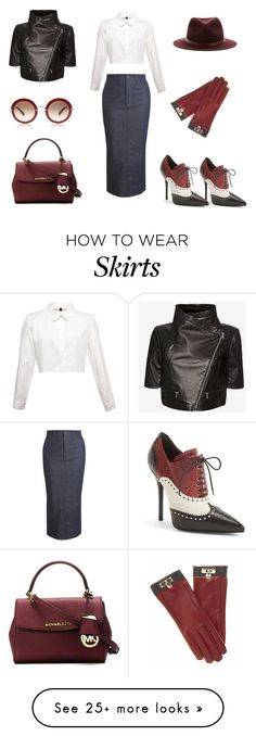 """Denim skirt"" by b-nieves on Polyvore featuring dVb Victoria Beckham, Gucci, Yigal Azrouël, rag & bone and MICHAEL Michael Kors"