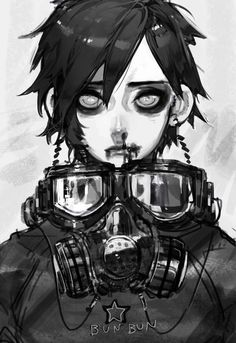 gas mask digital art anime - Google Search