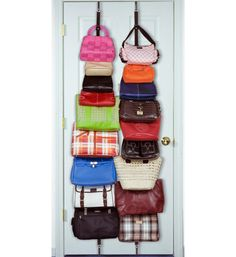 This Over the Door Purse Organizer gives you a simple way to store your handbags on the closet door.