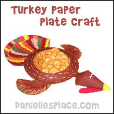 Thanksgiving  Craft - Thanksgiving Turkey  Paper Plate Craft from www.daniellesplace.com