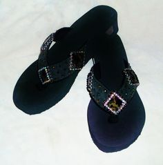 Western cowgirl green camo bling flip flops with genuine dark green suede uppers accented with glass crystals. Custom designed. $40.00 www.pamperedcowgirl.com