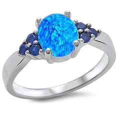 Solid 925 Sterling Silver 1.86 Carat Oval Lab Created Blue Opal Round Deep Blue Sapphire Wedding Engagement Anniversary Ring Gift