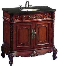 Adelina 43 Inch Vintage Bathroom Vanity Black Glaxy Granite Top Fully Embled Will Add