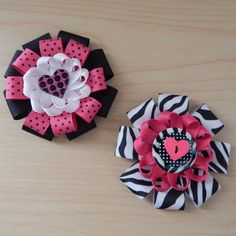 Zebra Print Polka Dot Hair Bow Set  Hair bows for by ColorfulBows