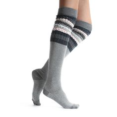 Lemon Sophie Herringbone Over-The-Knee Boots Socks (£13) ❤ liked on Polyvore featuring intimates, hosiery, socks, grey multi, cotton socks, grey socks, gray socks, grey over the knee socks and multi color socks