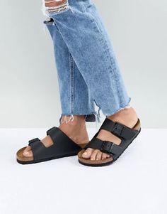 Birkenstock - Сандалии Birkenstock - Birkenstocks для женщин - Дизайнерские сандалии - ASOS.com Birkenstock Arizona, Birkenstock Negras, Low Heel Sandals, Flat Sandals, Tan Strappy Sandals, Women Sandals, Asos, Suede Flats, Black