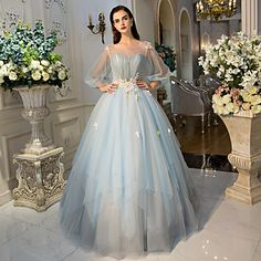 Formal Evening Dress - Floral Ball Gown Jewel Floor-length Tulle with Crystal Detailing Flower(s) Lace Side Draping – USD $ 189.99