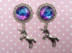 A beautiful hand made pair of plugs with silver unicorn charms!