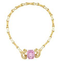 Lot 447 - Gold, Kunzite and Diamond Ribbon Necklace, by Angela Cummings
