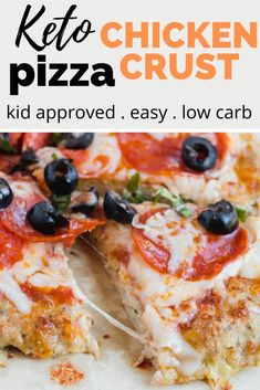 An almost zero carb pizza crust that is made without nut flours. This delicious keto chicken pizza crust is loaded with protein and healthy fats. It's an easy keto pizza recipe the whole family will love! Low Carb Dinner Recipes, Keto Dinner, Pizza Recipes, Keto Recipes, Healthy Recipes, Chili Recipes, Healthy Fats, Chicken Crust Pizza, Keto Chicken