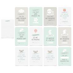 """Lot de 12 cartes différentes Dimensions cartes : 14,8 x 10,5 cm Voici un joli cadeau pour la naissance d'un bébé. Un kit de 12 cartes différentes pour accessoiriser les photos des """"premières fois"""" de l'enfant avec au dos de chaque carte un emplacement pour raconter cette """"première fois"""". Les cartes : - J'ai eu mon premier fou-rire - J'ai fait mon premier pas - J'ai fait ma première nuit complète - J'ai mangé ma première purée / compote - J&#3..."""